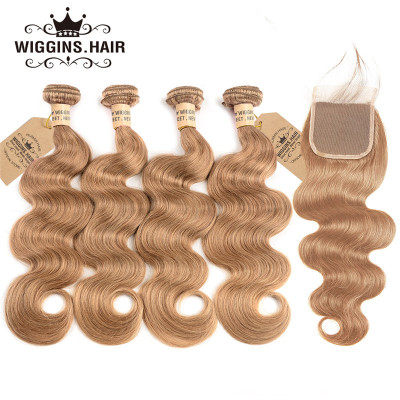 #27 Honey Blonde Brazilian Body Wave Hair 4pcs With Closure