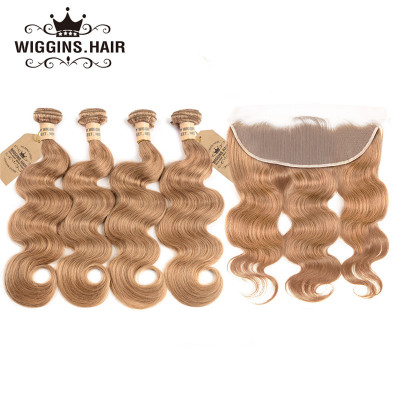 #27 Honey Blonde Hair Body Wave 4 Bundles With Lace Frontal