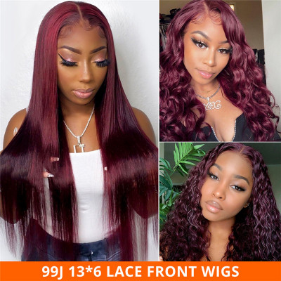 Burgundy Wigs 13x6 Lace Front Wigs 99J Colored Wigs Real Hair Wigs