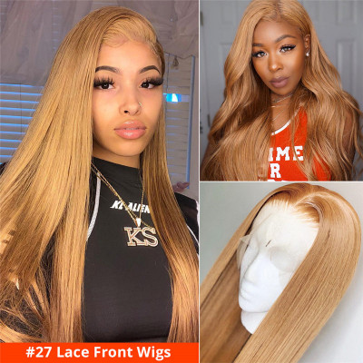 Colored Wigs #27 #1B/27 #1B/4/27 Human Hair Lace Front Wigs Glueless Wig