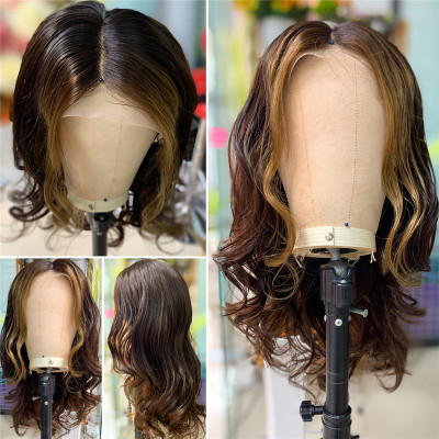 Body Wave #4 Color With Honey Blonde Highlighted Wigs Customized Lace Front Wigs