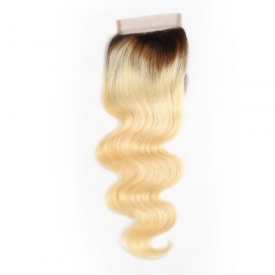 1B/613 Color Body Wave Lace Closure 100% Human Virgin hair 4x4 Inch