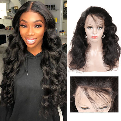 180% Density Human Virgin Hair Body Wave 360 Lace Front Wigs
