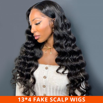 Body Wave Fake Scalp Wigs Glueless Lace Front Wigs With Baby Hair