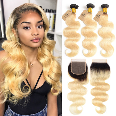 Ombre Color Human Virgin Hair 1B/613 Color Body Wave 3 PCS With Closure