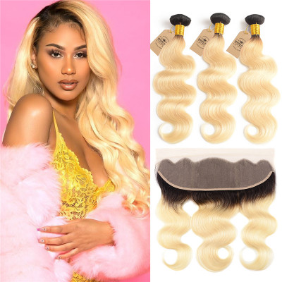 Ombre Hair Color 1B/613 Body Hair Bundles With 13x4 Lace Frontal