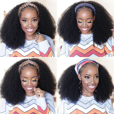 Coily Hair Headband Wigs Human Hair Half Wigs With Headbands Attached