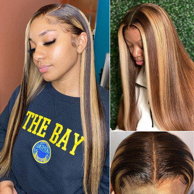 Honey Blonde Highlight Wigs Straight And Body Wave Lace Front Wigs With Baby Hair