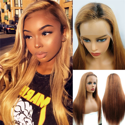 #9/33 Colored Wigs Straight And Body Wave Lace Frontal Wigs Yellow Golden Ombre Wigs