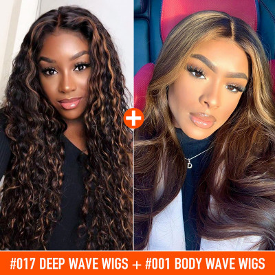 #017 Deep Wave Wigs And Highlight Body Wave Wigs 2 Wigs Ship In 1 Package