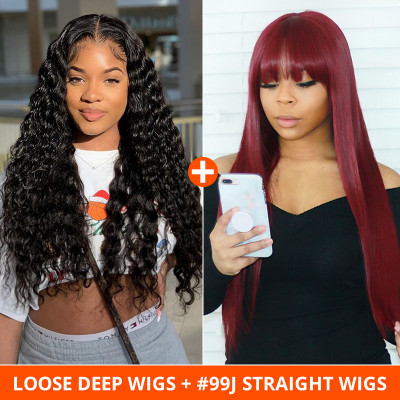 Pay 1 Get 2 Wigs Loose Deep Wigs And #99J Burgundy Straight Wigs With Bangs