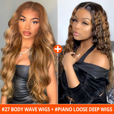 Buy One Get One Free Buy #27 Body Wave Wigs Get Free #Piano Loose Deep Wigs