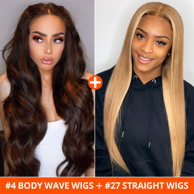 #4 Body Wave Lace Part Wigs And #27 Straight Lace Part Wigs 2 Wig Ship In 1 Package
