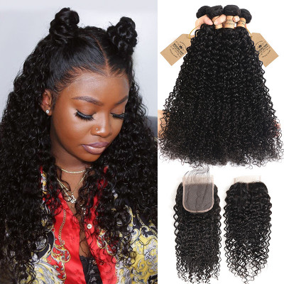 Peruvian Human Virgin Hair 4pcs Curly Wave With Lace Closure