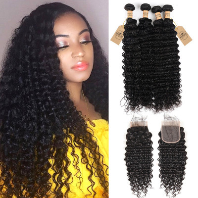 Peruvian Hair 4pcs Deep Wave Bundles With Lace Closure Virgin Hair