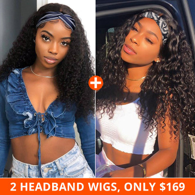 Premade Headband Wigs Curly And Loose Deep Headband Wigs Pay 1 Get 2 Wigs