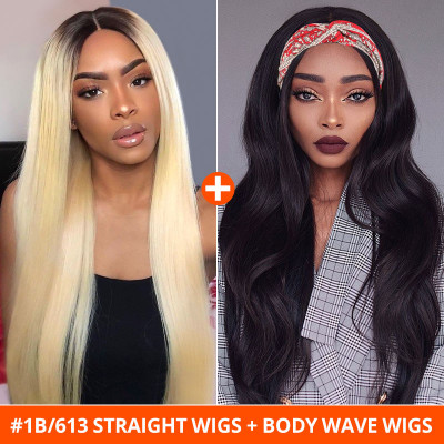 #1B/613 Straight U Part Wigs And Body Wave Headband Wigs 2 Wig Ship In 1 Package