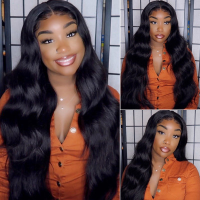 Long Black Wigs 18-40 Inches Body Wave 13*4 Lace Front Wigs With Baby Hair