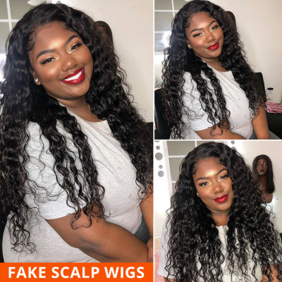 Invisible Lace Wigs Loose Deep Wave Fake Scalp Wigs Cheap Human Hair Wigs For Sale