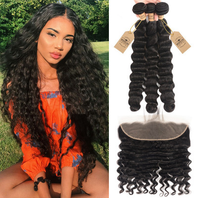 Loose Deep Wave Brazilian Virgin Hair 3 Bundles With Lace Frontal