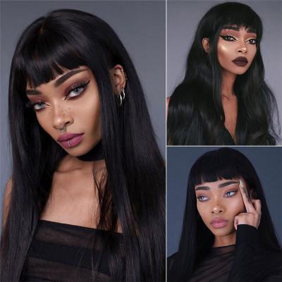 Machine Made Wigs Affordable Human Hair Wigs High Quality Wigs With Bangs