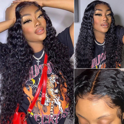 Natural Wave 4x4 5x5 Fake Scalp Wigs Water Wave 4x4 5x5 Closure Wigs Affordable Wigs