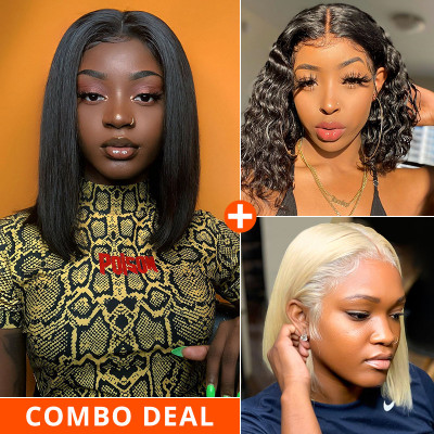 Pay 1 Get 3 Wigs 4x4 Bob Wigs In Different Color And Texture 3 Bob Wigs Ship In 1 Package