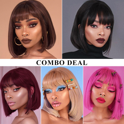Pay 1 Get 5 Wigs Machine Made Wigs Straight Bob Wigs With Bangs In Different Color