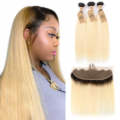 Human Hair Bundles 1B/613 Color Straight Weave With Lace Frontal