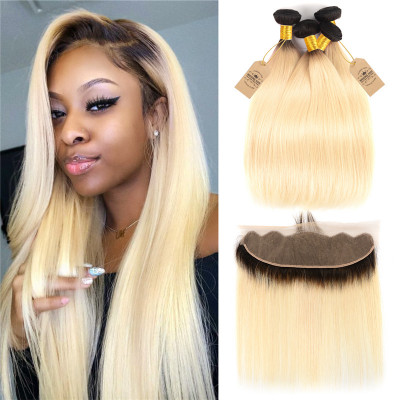 1B/613 Color Straight Hair 4 Bundles With 13*4 Ear To Ear Frontal