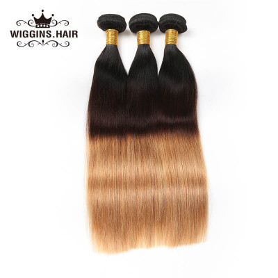 Brazilian Virgin Hair Ombre Color 1B/4/27 3pcs Straight Human Virgin Hair