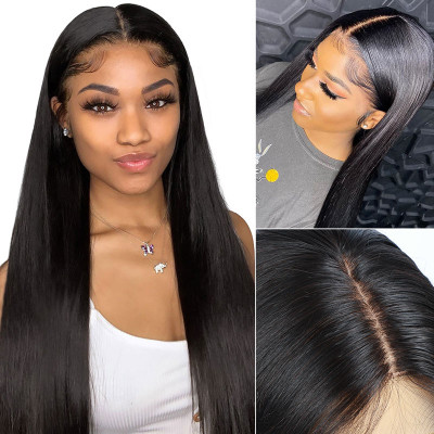 Straight PU Silk Base Wigs With Invisible Knots Real Hair Wigs PU Wigs Made By Polyurethane
