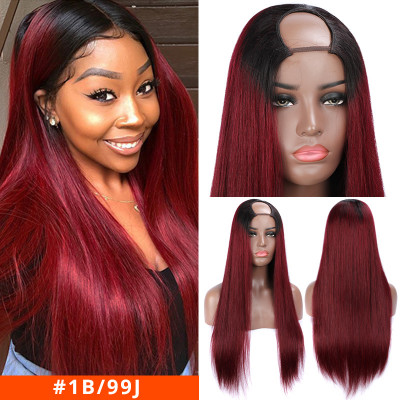 Colored Wigs U Part Wigs 99J Burgundy Wigs Blonde Human Hair Wigs