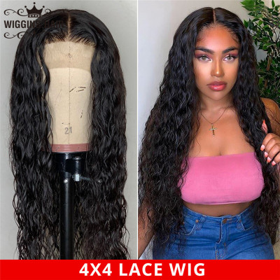 180%-250% Density Water/Natural Wave 4X4 Lace Wigs Made By Hair Bundles With Closure