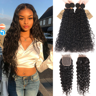 Peruvian Natural Wave 4 Bundles Hair With 4*4 Hair Closures
