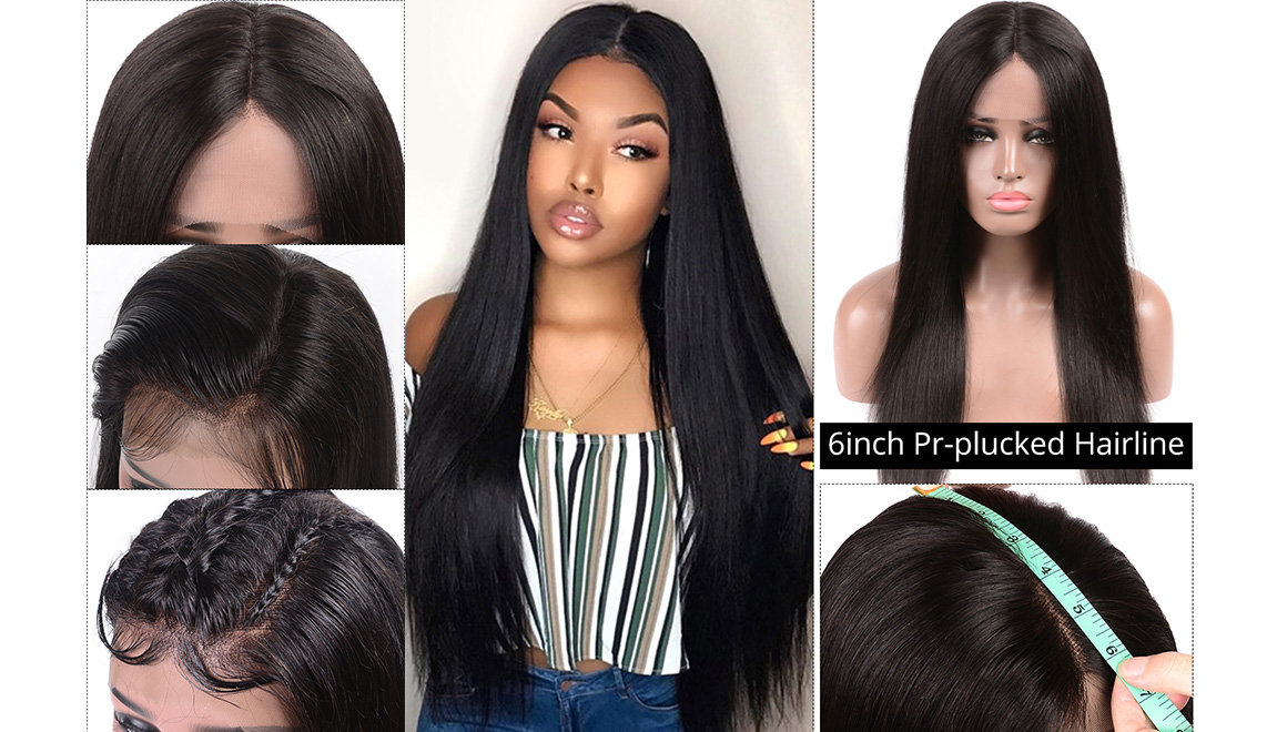 straight 6 by 6 lace front wig