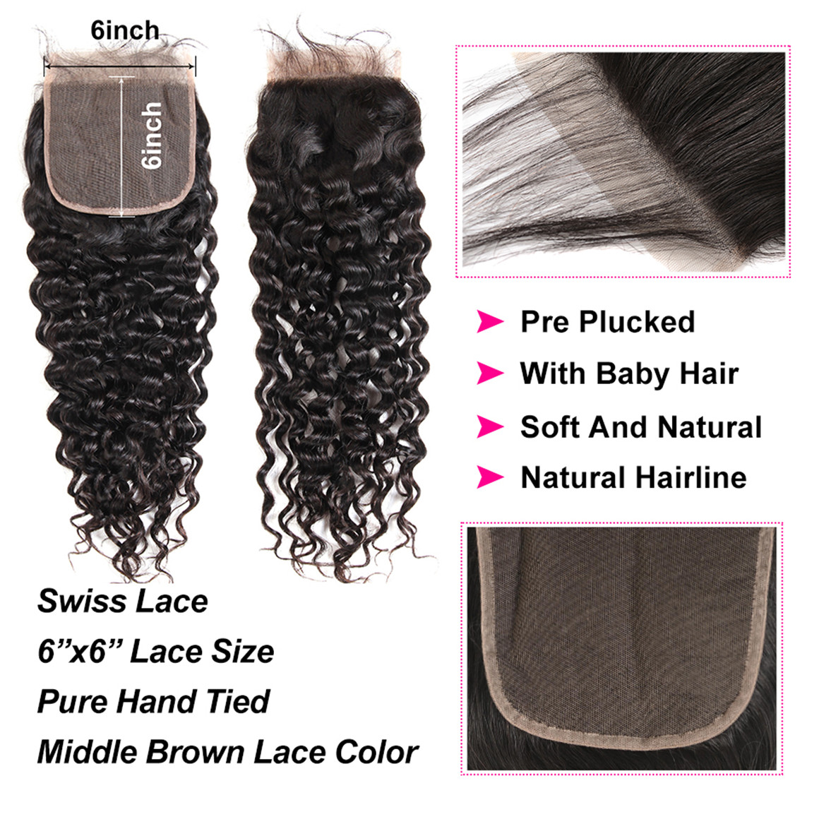 6*6 Lace Closure Natural Color